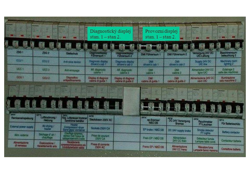 Diagnostický displej stan. 1 – stan 2. Provozní displej stan. 1 – stan 2.
