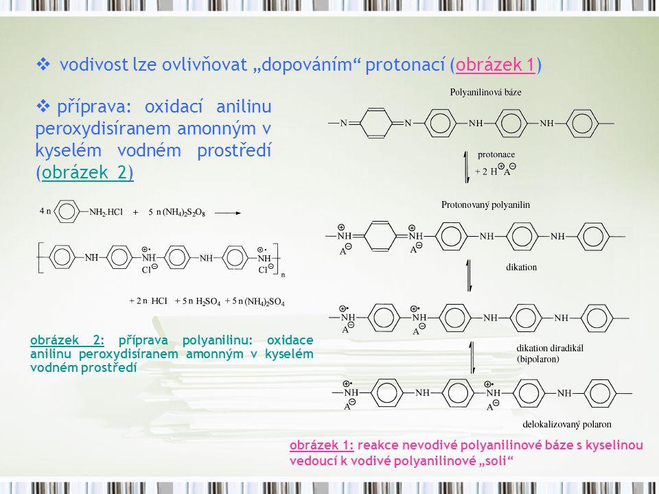"""vodivost lze ovlivňovat """"dopováním protonací (obrázek 1)"""