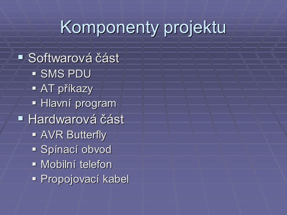 Komponenty projektu Softwarová část Hardwarová část SMS PDU AT příkazy