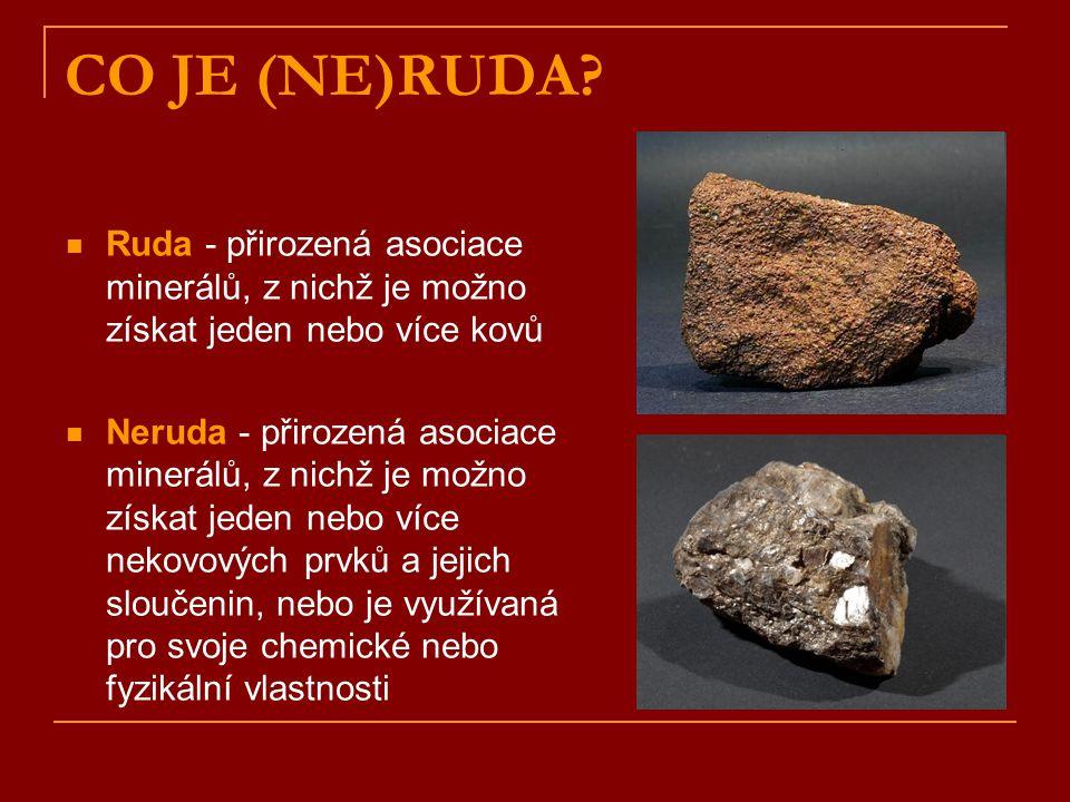 CO JE (NE)RUDA Ruda - přirozená asociace minerálů, z nichž je možno získat jeden nebo více kovů.