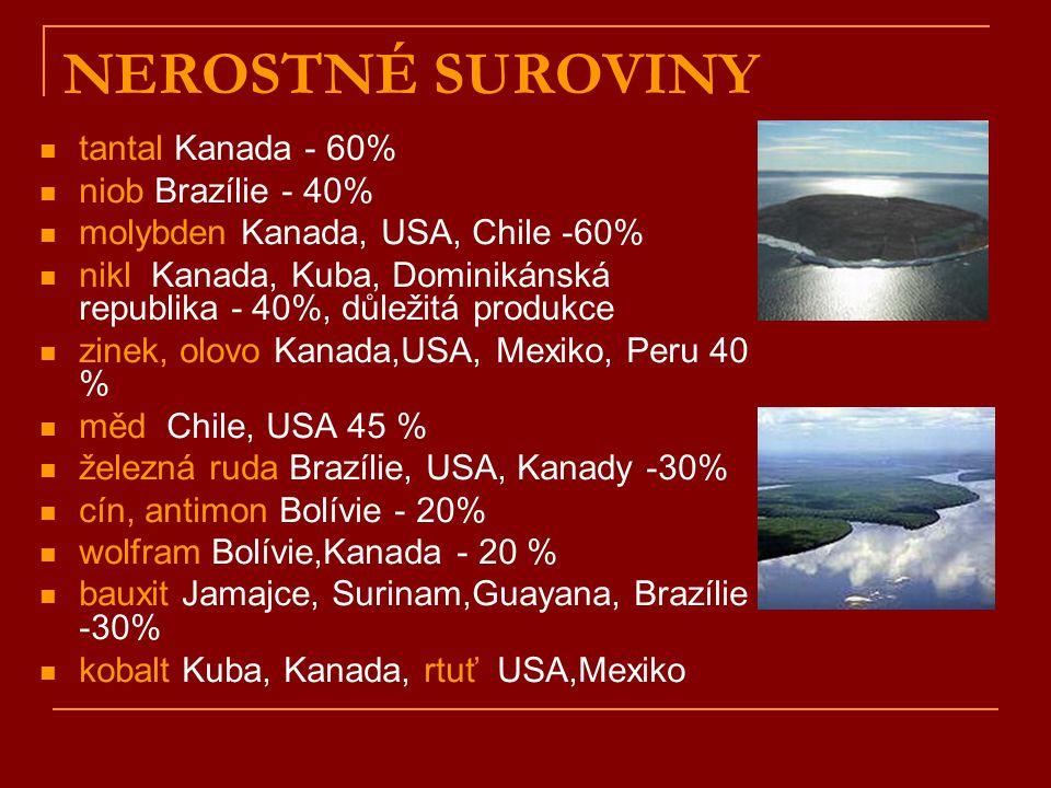 NEROSTNÉ SUROVINY tantal Kanada - 60% niob Brazílie - 40%