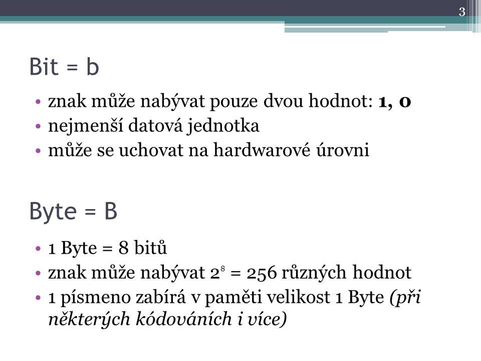 Bit = b Byte = B znak může nabývat pouze dvou hodnot: 1, 0