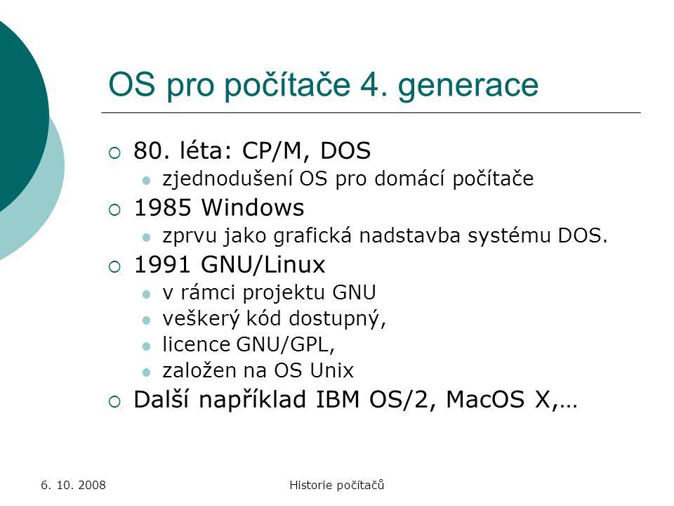OS pro počítače 4. generace