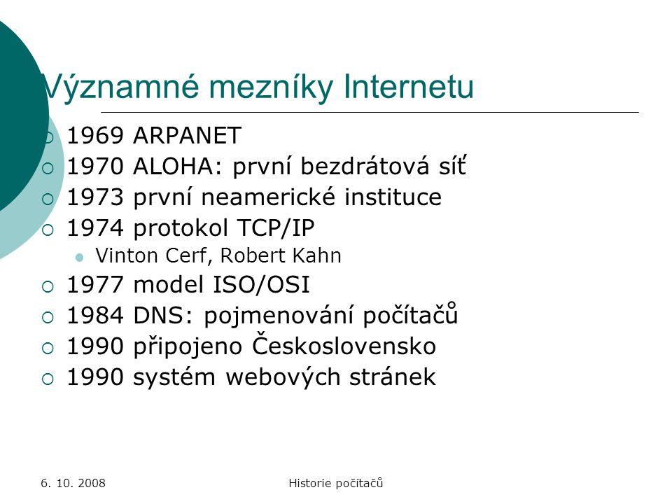 Významné mezníky Internetu