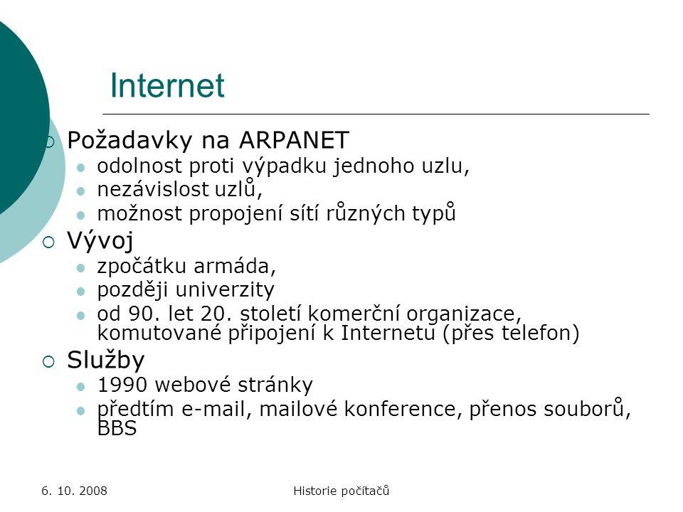 Internet Požadavky na ARPANET Vývoj Služby