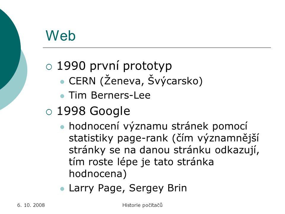 Web 1990 první prototyp 1998 Google CERN (Ženeva, Švýcarsko)
