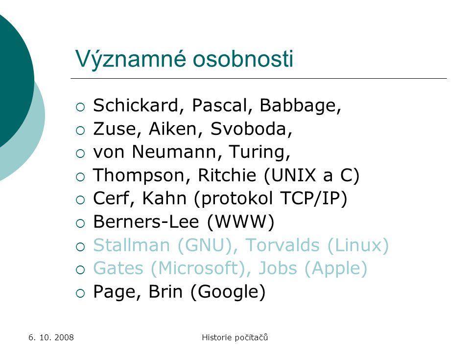 Významné osobnosti Schickard, Pascal, Babbage, Zuse, Aiken, Svoboda,