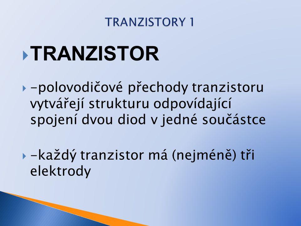 TRANZISTORY 1 TRANZISTOR. -polovodičové přechody tranzistoru vytvářejí strukturu odpovídající spojení dvou diod v jedné součástce.