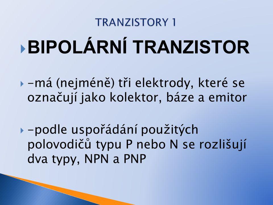 TRANZISTORY 1 BIPOLÁRNÍ TRANZISTOR. -má (nejméně) tři elektrody, které se označují jako kolektor, báze a emitor.