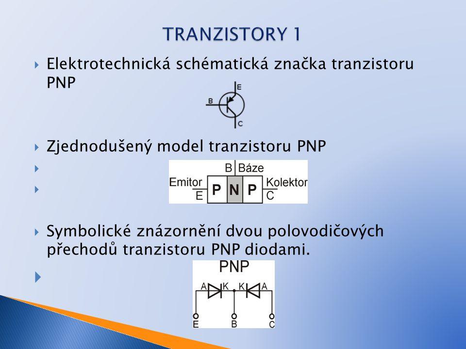 TRANZISTORY 1 Elektrotechnická schématická značka tranzistoru PNP