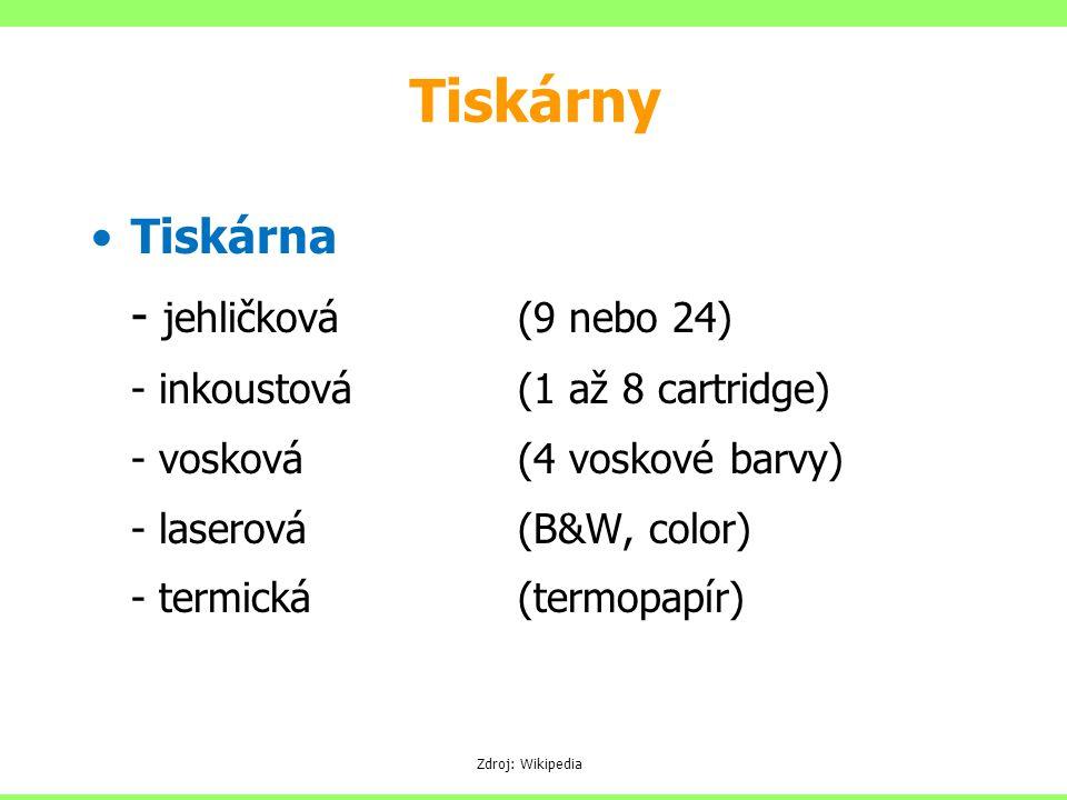 Tiskárny Tiskárna - jehličková (9 nebo 24)