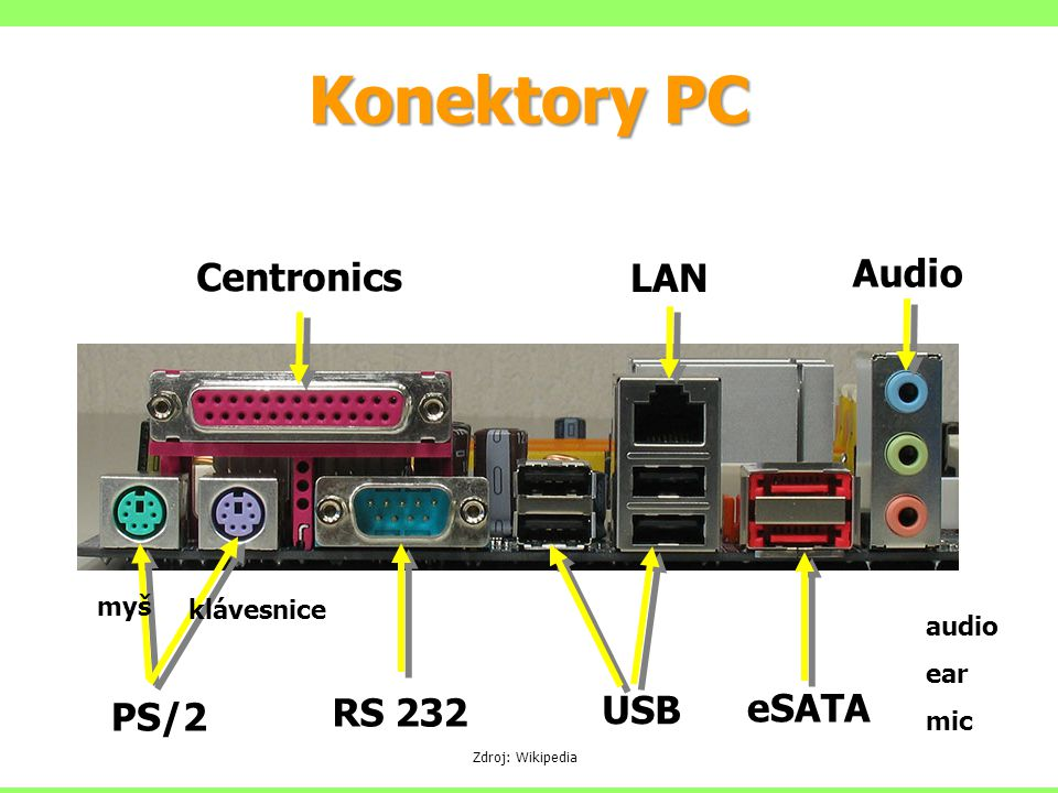 Konektory PC Audio Centronics LAN eSATA RS 232 USB PS/2 myš klávesnice