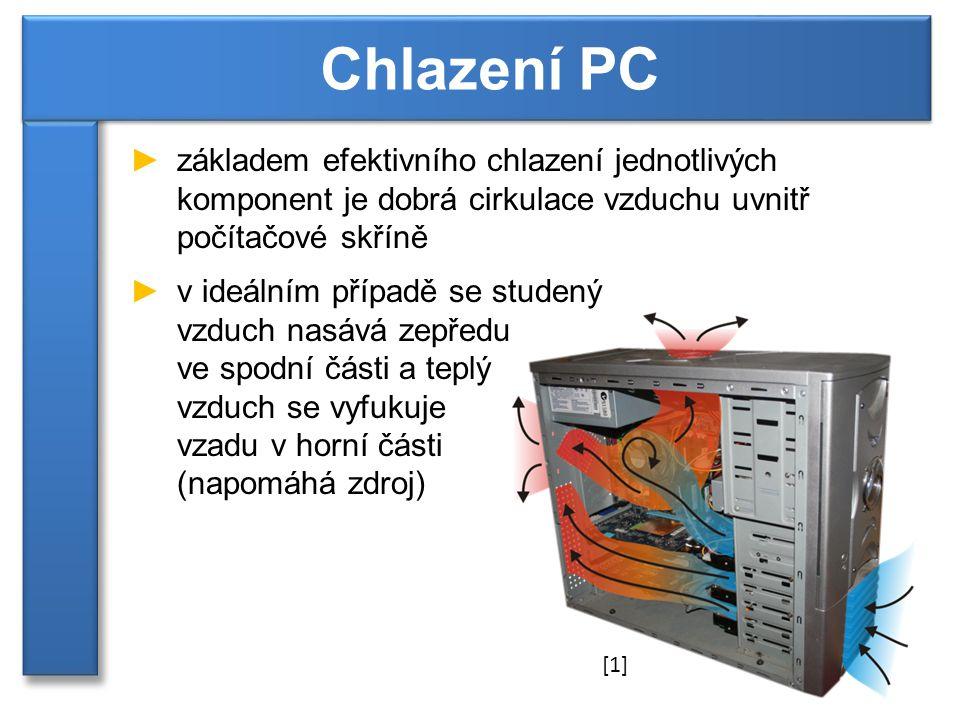 Chlazení PC základem efektivního chlazení jednotlivých komponent je dobrá cirkulace vzduchu uvnitř počítačové skříně.