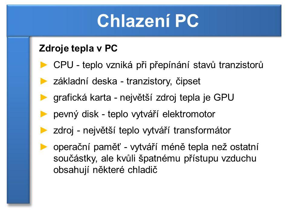 Chlazení PC Zdroje tepla v PC