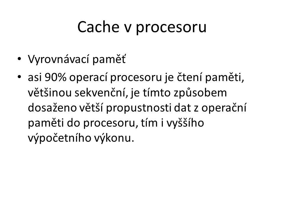 Cache v procesoru Vyrovnávací paměť