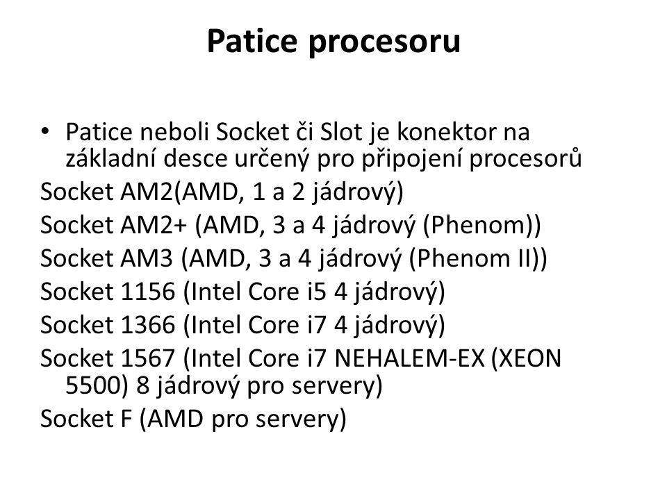 Patice procesoru Patice neboli Socket či Slot je konektor na základní desce určený pro připojení procesorů.