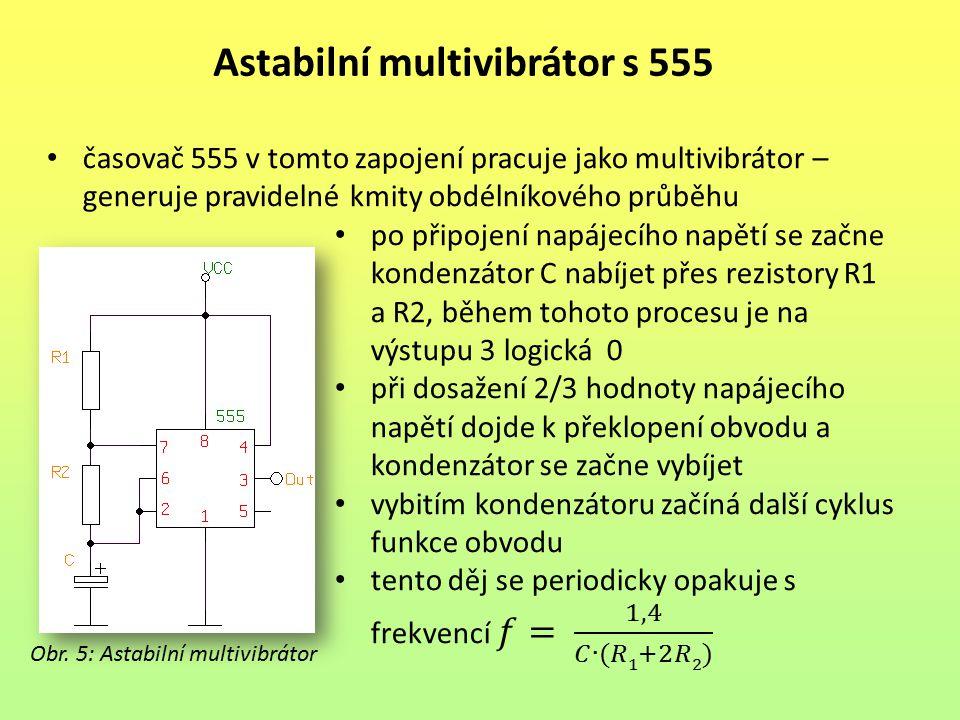 Astabilní multivibrátor s 555
