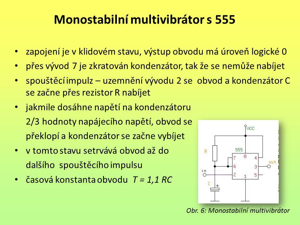 Monostabilní multivibrátor s 555