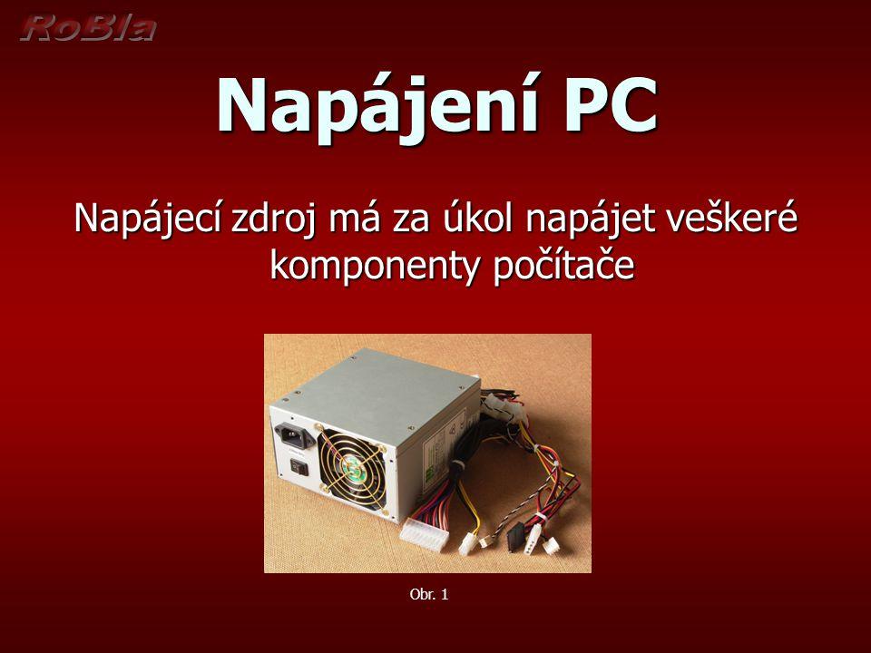 Napájecí zdroj má za úkol napájet veškeré komponenty počítače