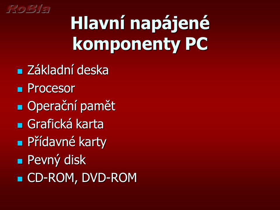 Hlavní napájené komponenty PC