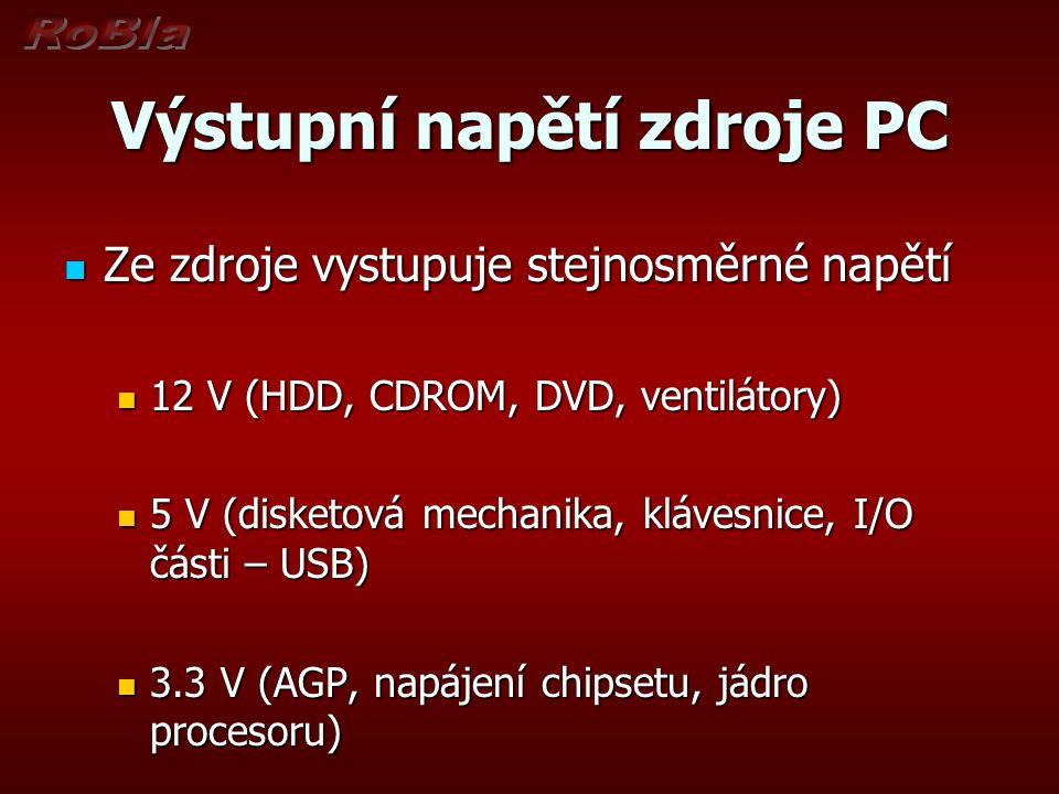 Výstupní napětí zdroje PC