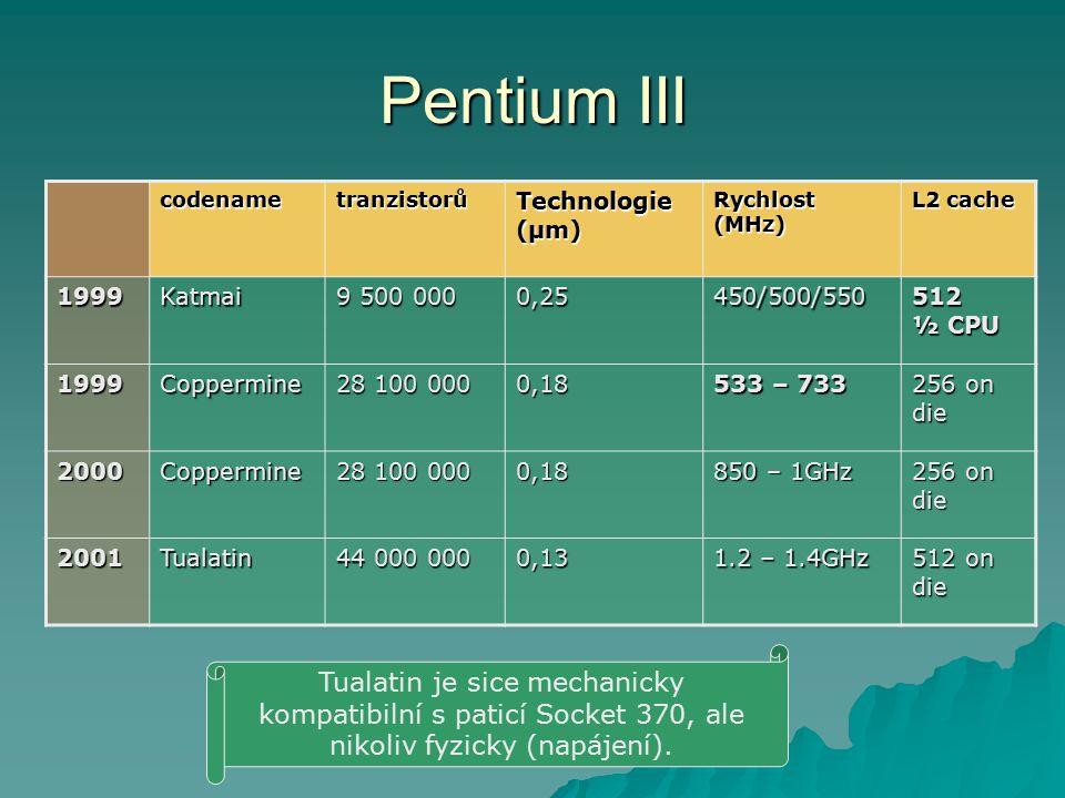 Pentium III codename. tranzistorů. Technologie (µm) Rychlost (MHz) L2 cache. 1999. Katmai. 9 500 000.