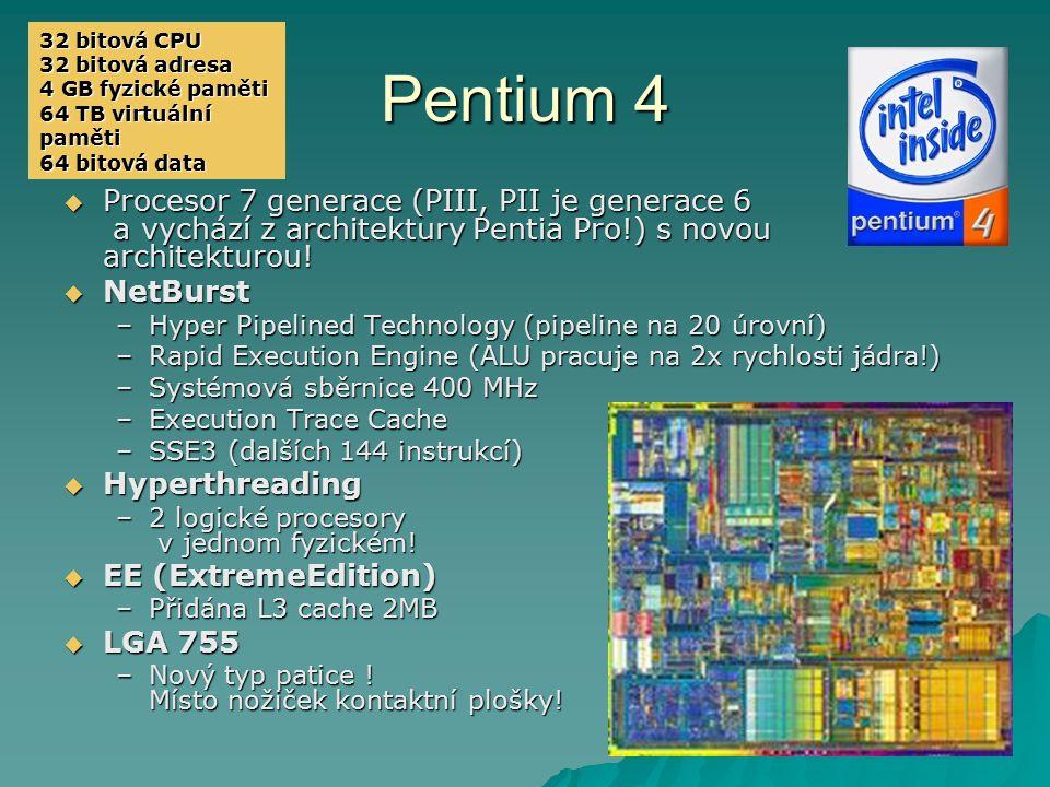 32 bitová CPU 32 bitová adresa. 4 GB fyzické paměti. 64 TB virtuální paměti. 64 bitová data. Pentium 4.