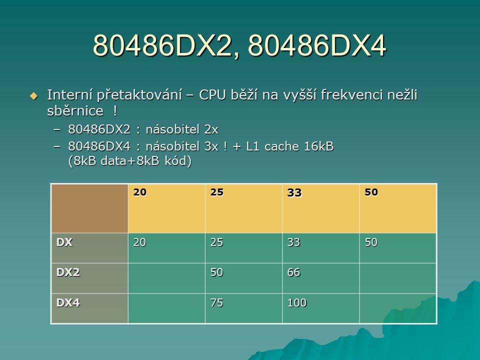 80486DX2, 80486DX4 Interní přetaktování – CPU běží na vyšší frekvenci nežli sběrnice ! 80486DX2 : násobitel 2x.