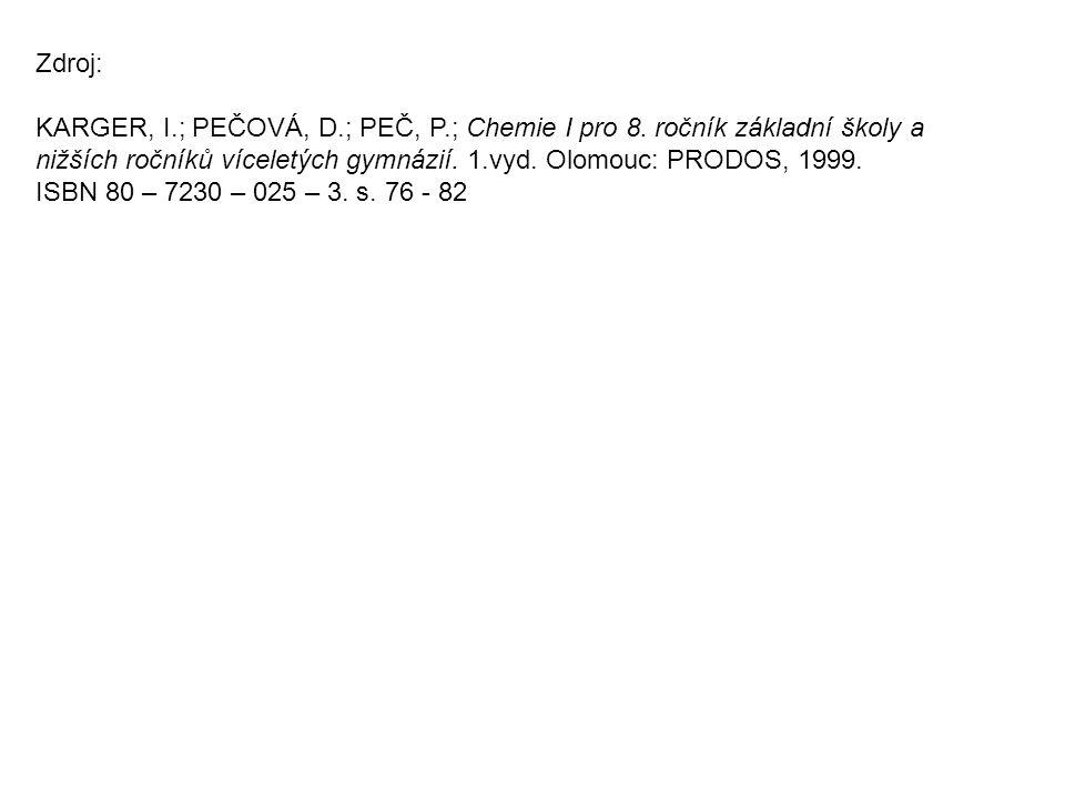 Zdroj: KARGER, I.; PEČOVÁ, D.; PEČ, P.; Chemie I pro 8. ročník základní školy a.