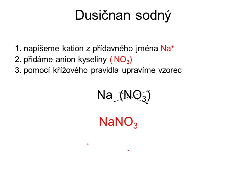 Dusičnan sodný Na (NO3) NaNO3