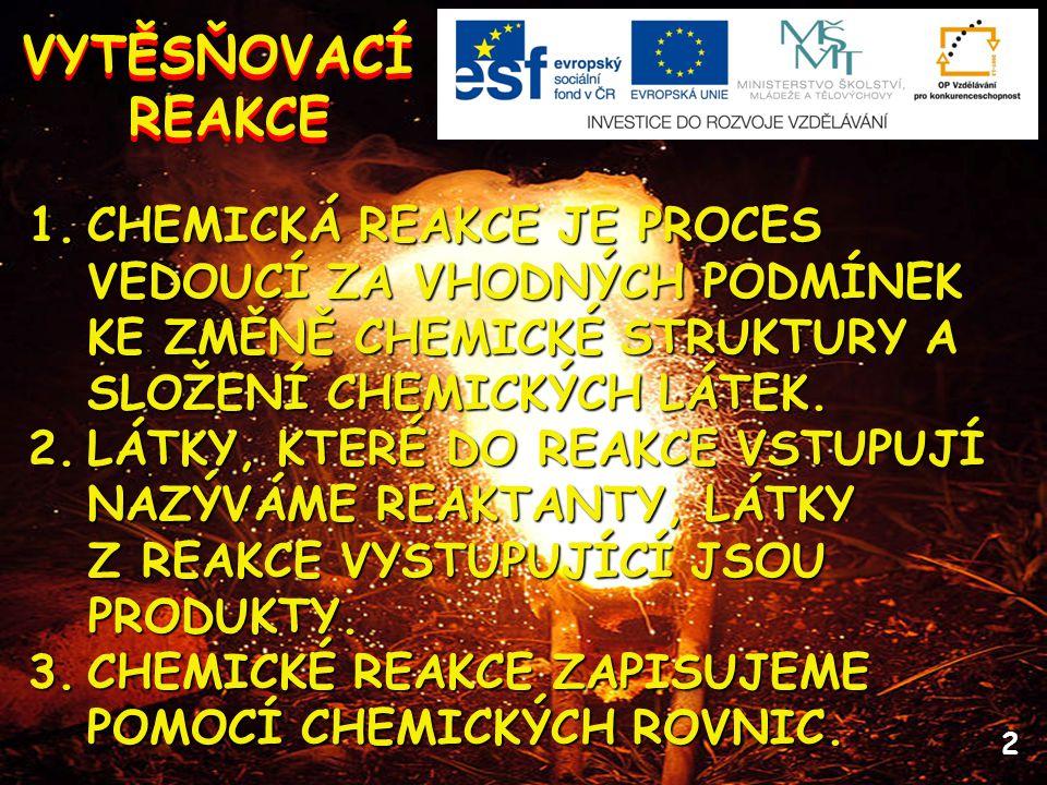 VYTĚSŇOVACÍ REAKCE. CHEMICKÁ REAKCE JE PROCES VEDOUCÍ ZA VHODNÝCH PODMÍNEK KE ZMĚNĚ CHEMICKÉ STRUKTURY A SLOŽENÍ CHEMICKÝCH LÁTEK.