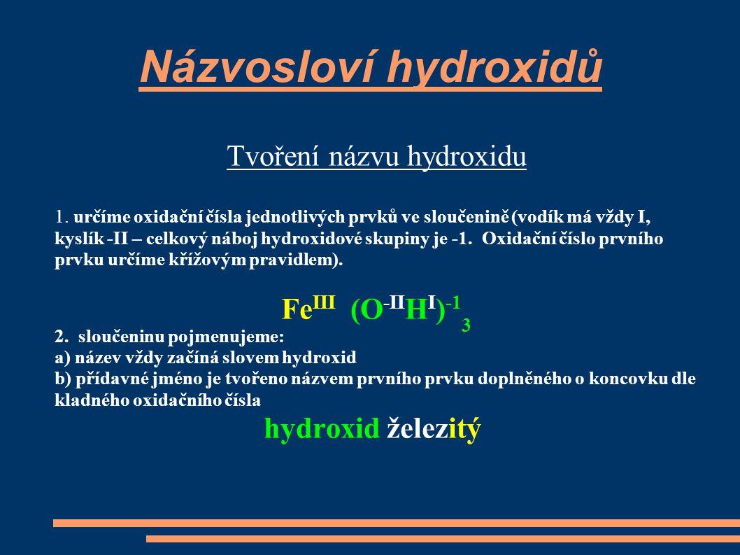 Tvoření názvu hydroxidu