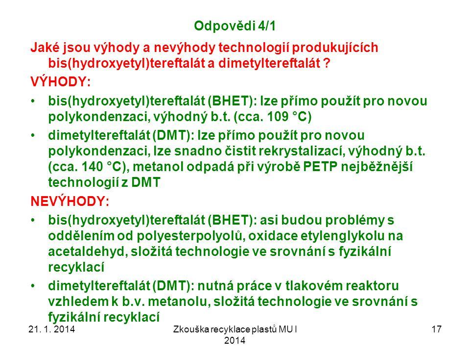 Zkouška recyklace plastů MU I 2014