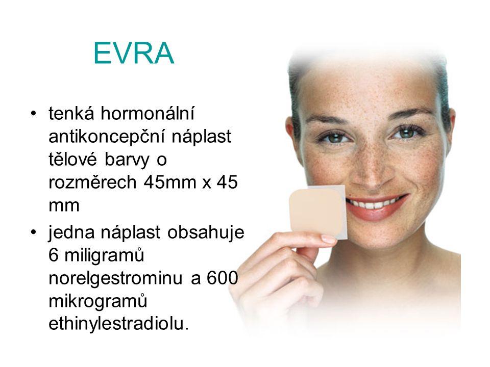 EVRA tenká hormonální antikoncepční náplast tělové barvy o rozměrech 45mm x 45 mm.
