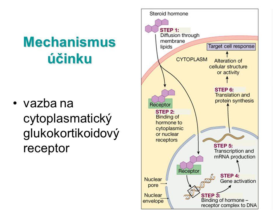 Mechanismus účinku vazba na cytoplasmatický glukokortikoidový receptor