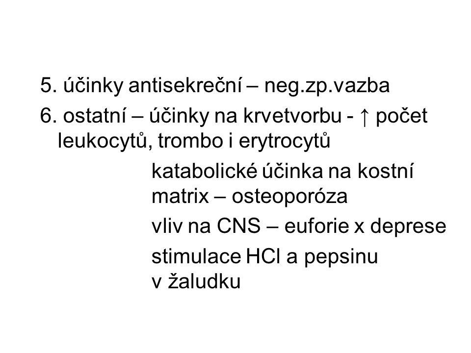 5. účinky antisekreční – neg.zp.vazba