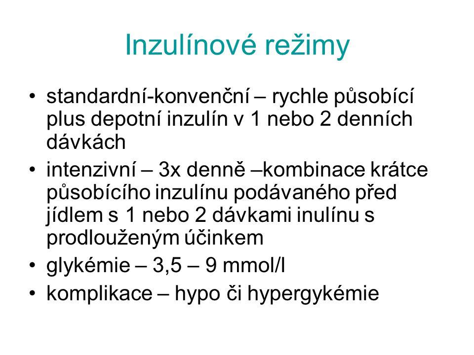 Inzulínové režimy standardní-konvenční – rychle působící plus depotní inzulín v 1 nebo 2 denních dávkách.