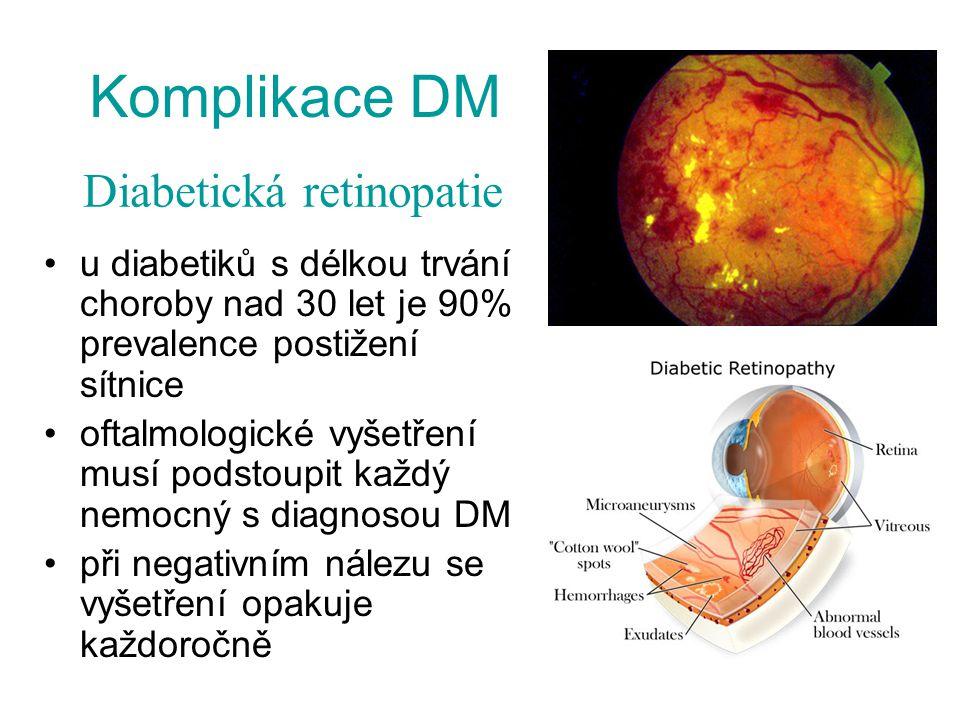 Komplikace DM Diabetická retinopatie. u diabetiků s délkou trvání choroby nad 30 let je 90% prevalence postižení sítnice.