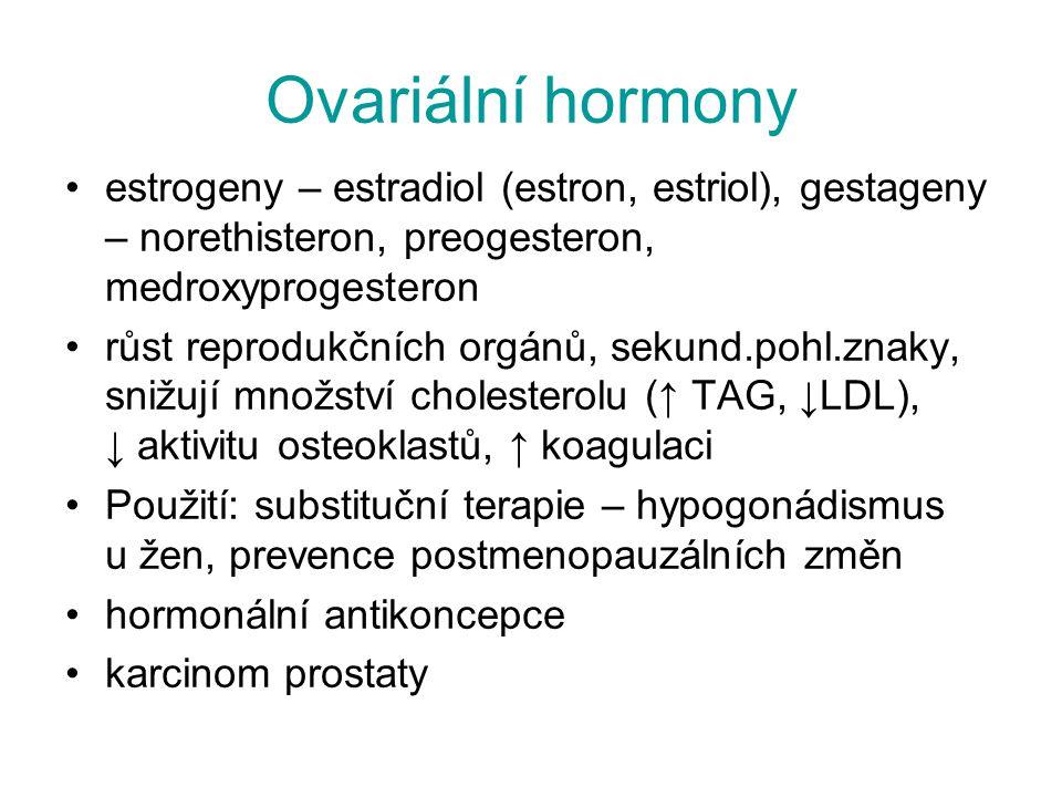 Ovariální hormony estrogeny – estradiol (estron, estriol), gestageny – norethisteron, preogesteron, medroxyprogesteron.