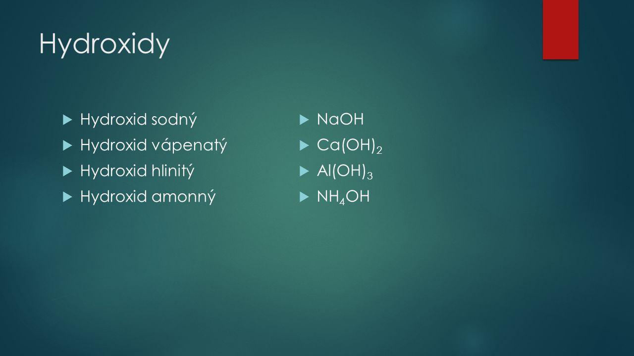 Hydroxidy Hydroxid sodný Hydroxid vápenatý Hydroxid hlinitý