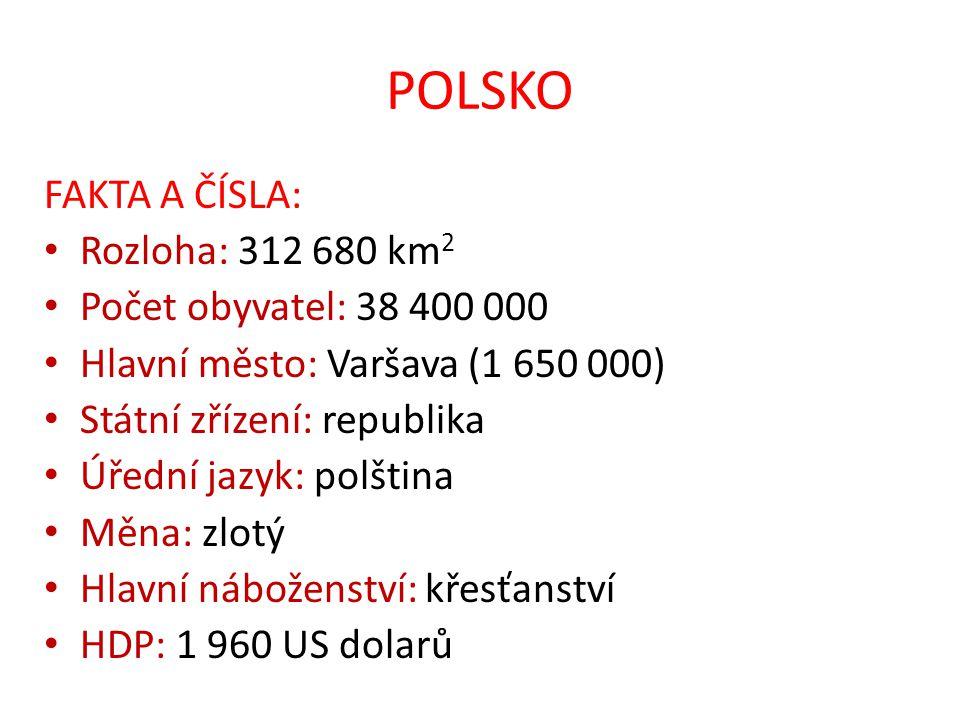 POLSKO FAKTA A ČÍSLA: Rozloha: 312 680 km2 Počet obyvatel: 38 400 000