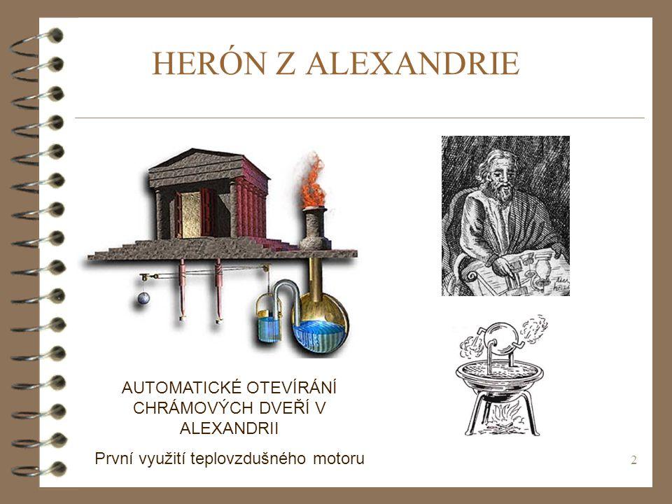 HERÓN Z ALEXANDRIE AUTOMATICKÉ OTEVÍRÁNÍ CHRÁMOVÝCH DVEŘÍ V ALEXANDRII