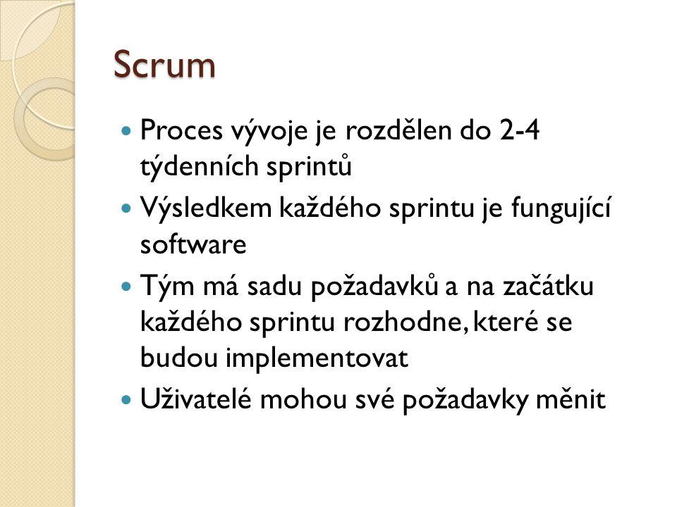 Scrum Proces vývoje je rozdělen do 2-4 týdenních sprintů