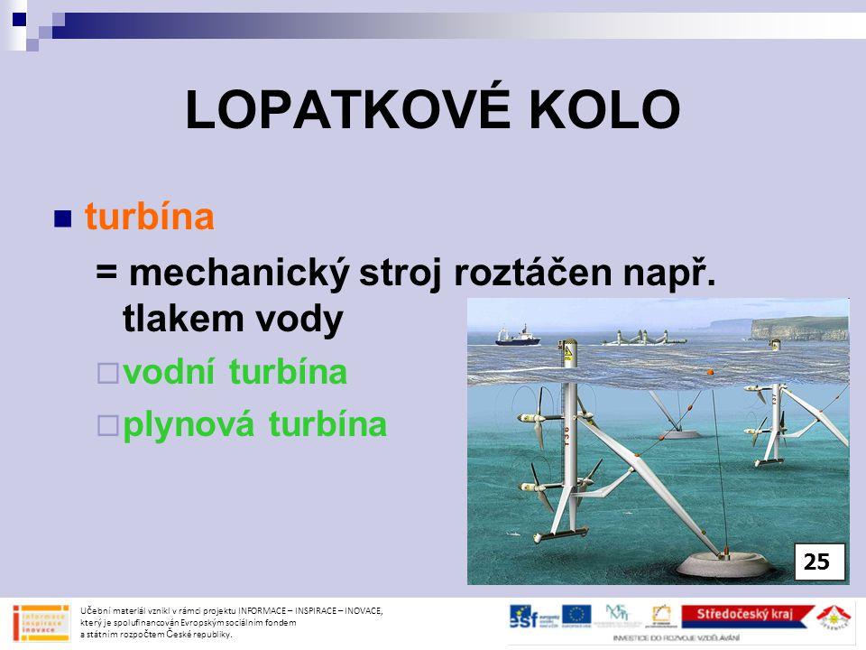 LOPATKOVÉ KOLO turbína = mechanický stroj roztáčen např. tlakem vody