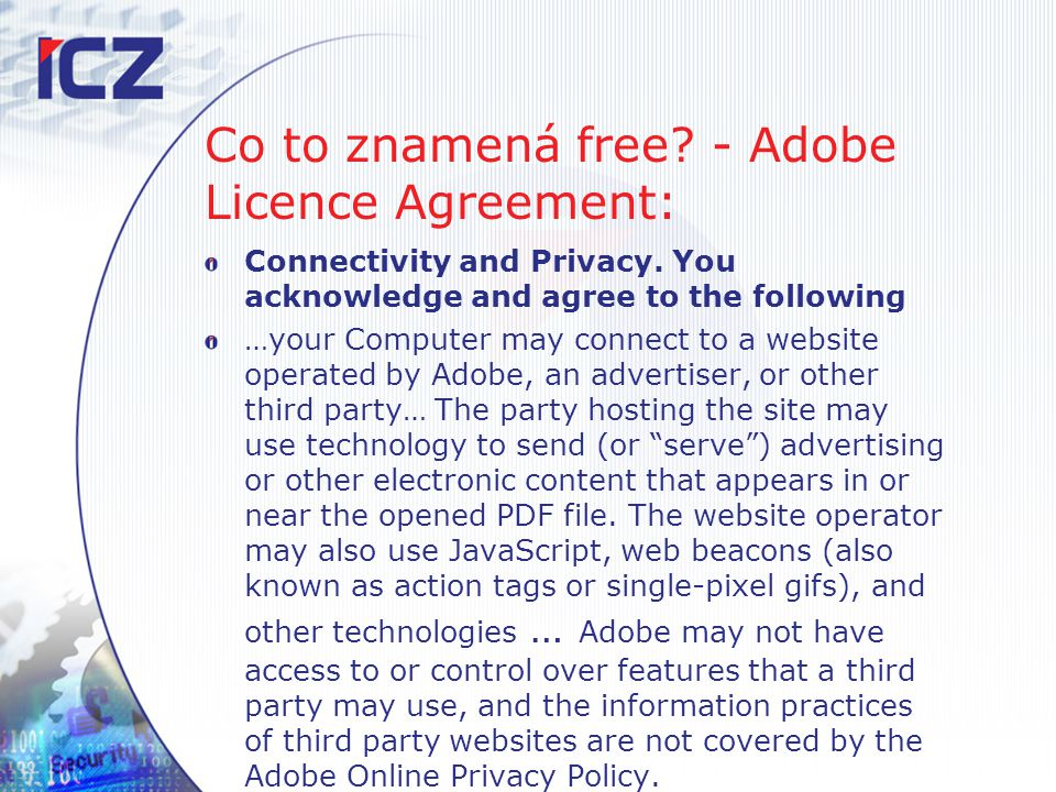 Co to znamená free - Adobe Licence Agreement: