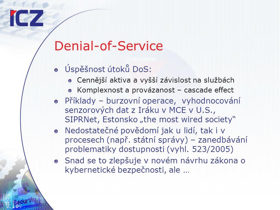 Denial-of-Service Úspěšnost útoků DoS: