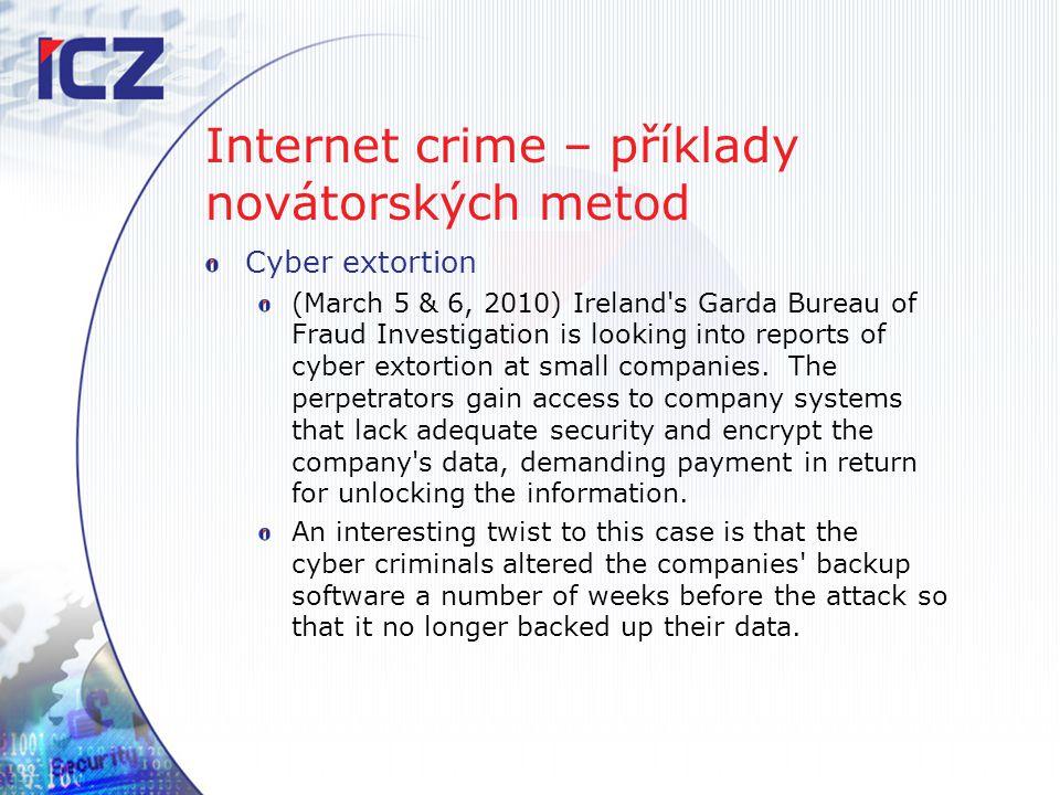 Internet crime – příklady novátorských metod