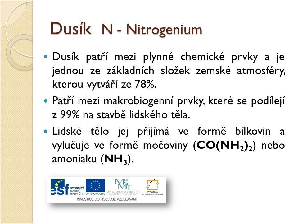 Dusík N - Nitrogenium Dusík patří mezi plynné chemické prvky a je jednou ze základních složek zemské atmosféry, kterou vytváří ze 78%.