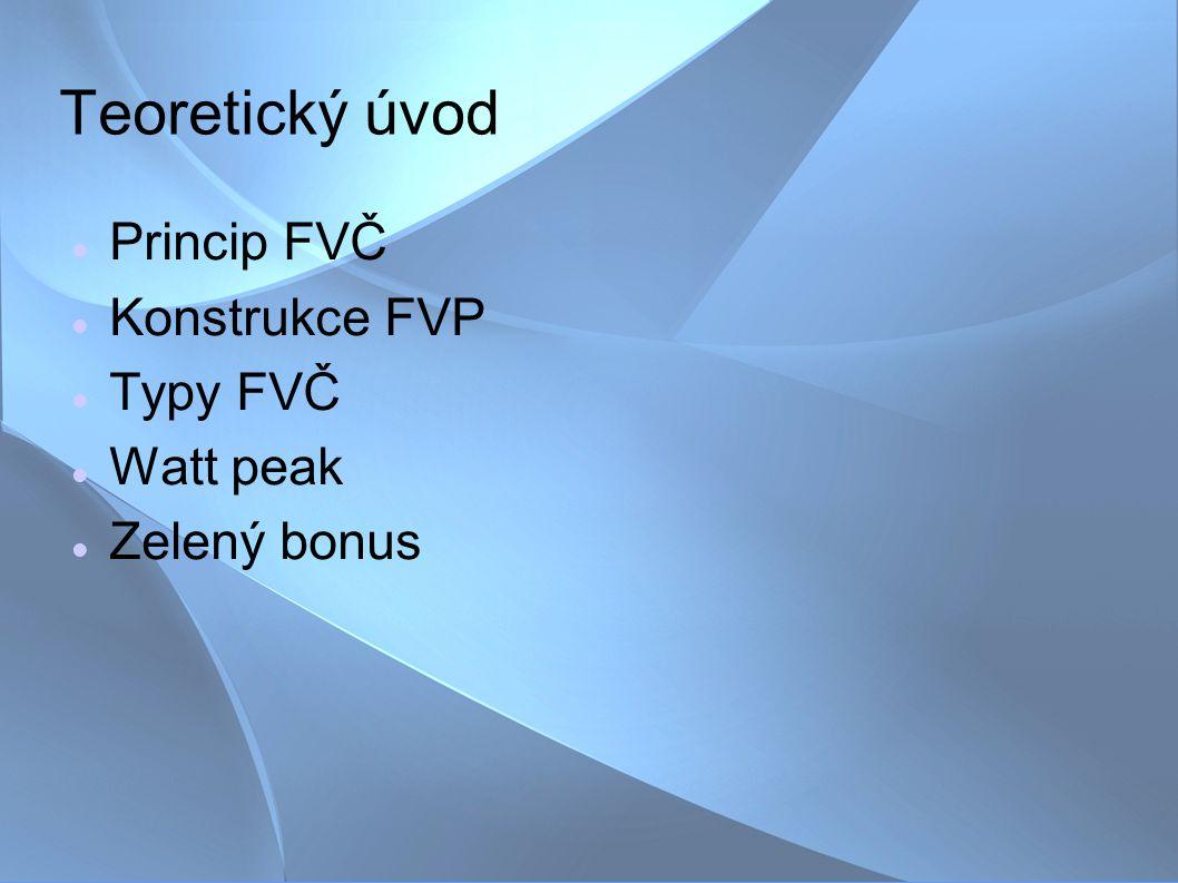 Teoretický úvod Princip FVČ Konstrukce FVP Typy FVČ Watt peak