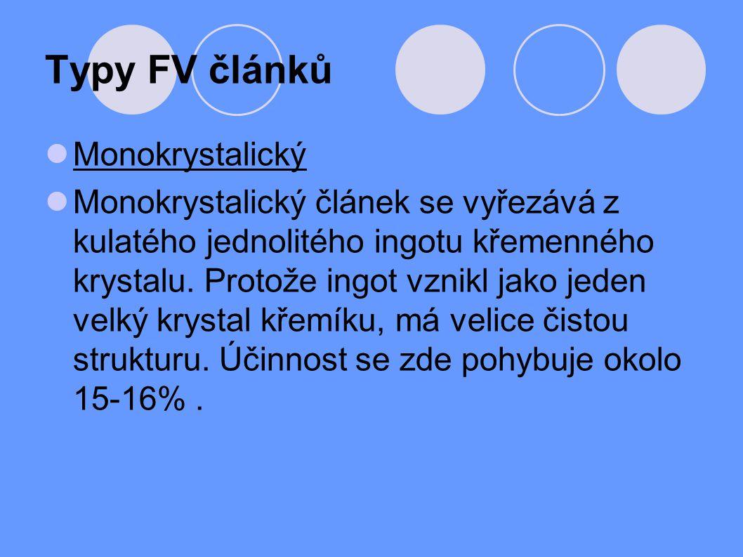 Typy FV článků Monokrystalický